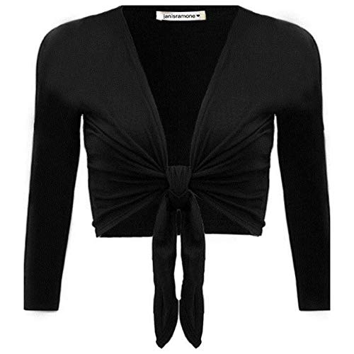 janisramone Womens New Plain Bolero Front Tie Shrug Ladies Cropped Long Sleeve Stretch Cardigan Top Black from janisramone