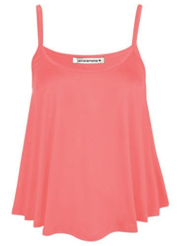 janisramone Womens Ladies New Plain Sleeveless Swing Strappy Camisole Cami Vest Plus Size Flared Mini Top Coral from janisramone