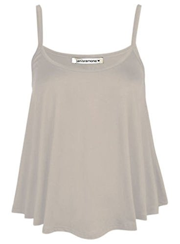 janisramone Womens Ladies New Plain Sleeveless Swing Strappy Camisole Cami Vest Plus Size Flared Mini Top Grey from janisramone