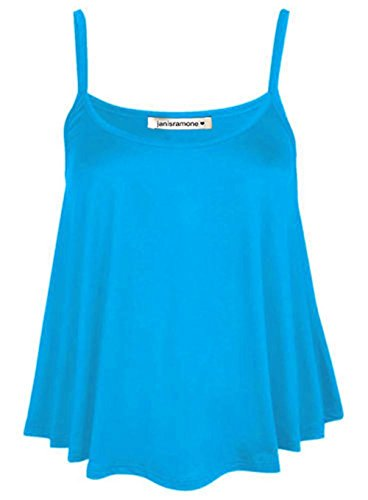 janisramone Womens Ladies New Plain Sleeveless Swing Strappy Camisole Cami Vest Plus Size Flared Mini Top Turquoise from janisramone