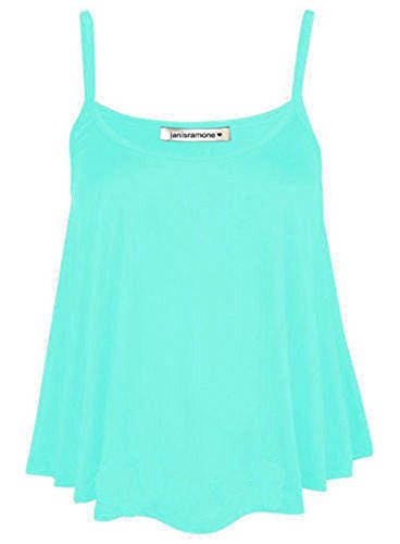 janisramone Womens Ladies New Plain Sleeveless Swing Strappy Camisole Cami Vest Plus Size Flared Mini Top Mint from janisramone