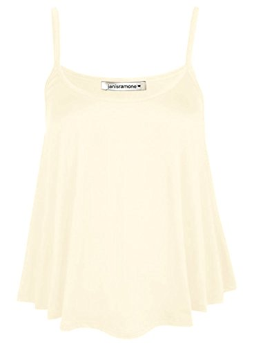 janisramone Womens Ladies New Plain Sleeveless Swing Strappy Camisole Cami Vest Plus Size Flared Mini Top Cream from janisramone