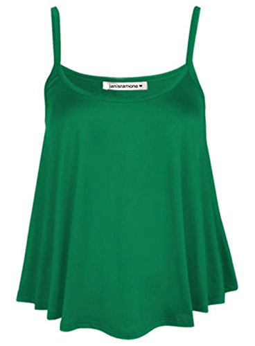 janisramone Womens Ladies New Plain Sleeveless Swing Strappy Camisole Cami Vest Plus Size Flared Mini Top Jade Green from janisramone