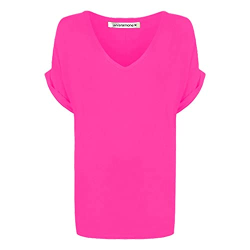 janisramone Womens Ladies New Printed Plain V Neck Turn Up Short Sleeve Oversize Loose Baggy Fit T-Shirt Top Cerise from janisramone