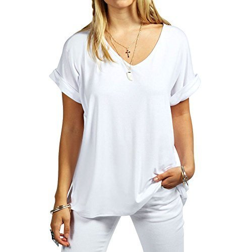 janisramone Womens Ladies New Printed Plain V Neck Turn Up Short Sleeve Oversize Loose Baggy Fit T-Shirt Top White from janisramone