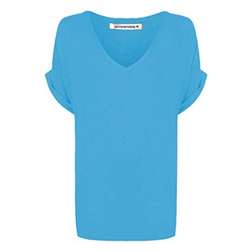 janisramone Womens Ladies New Printed Plain V Neck Turn Up Short Sleeve Oversize Loose Baggy Fit T-Shirt Top Turquoise from janisramone