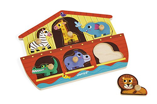 Janod J07062 Wooden Tenon Puzzles 6 pieces, Noah's Ark from Janod