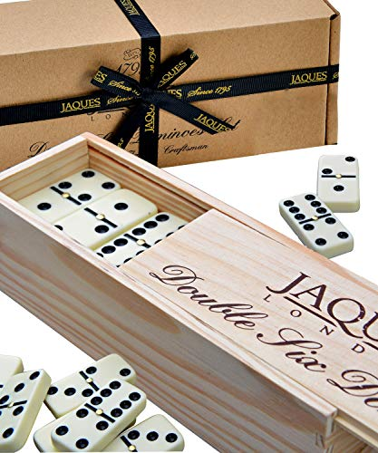 Dominoes Set - Jaques Domino Child And Adults Game - Double Six Dominos Set Club In Wooden Sliding Lid Box from Jaques of London