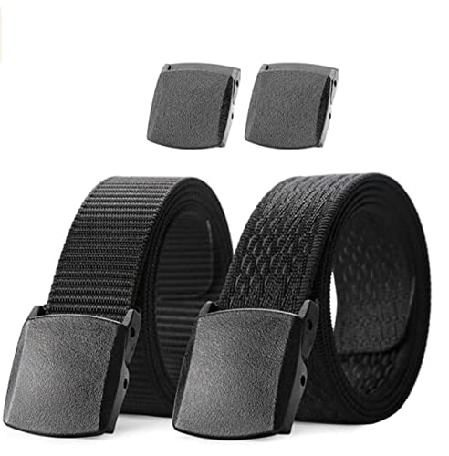 "JasGood Casual Nylon Canvas Breathable Military Tactical Men Waist Belts With Plastic Buckle-Black-Suit waist size under 42""(Can be trimmed)-2 Pack from JASGOOD"