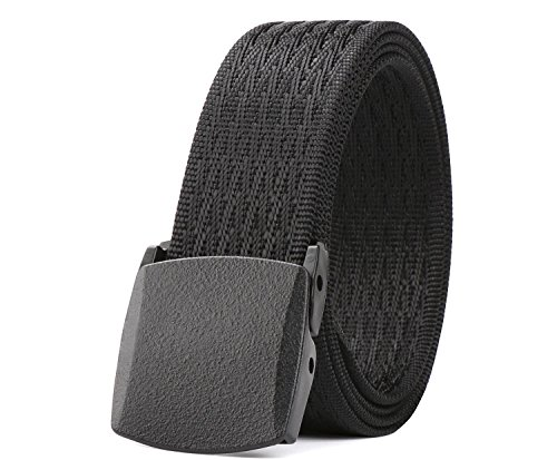 JasGood Nylon Canvas Breathable Military Tactical Men Waist Belt With Plastic Buckle (Black-Suit waist size under 42''(Can be trimed £©) from JASGOOD