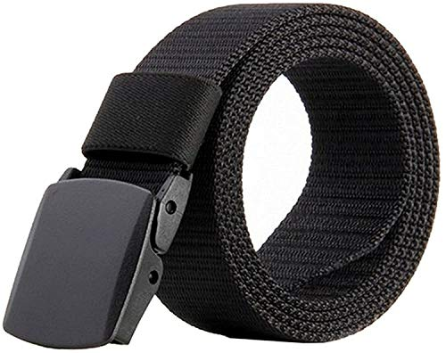 JasGood Nylon Canvas Breathable Quick-Drying Military Tactical Style Adjustable Waist Web Men Belt With Plastic Buckle JA015_Black from JasGood