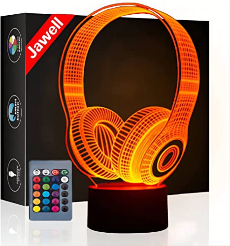 Jawell 3D Illusion Lamp Night Light Wireless Headphone 7 Changing Colors Touch USB Table Nice Gift Toys Decorations from Jawell