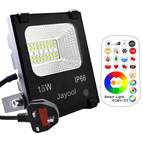 Jayool LED Floodlight Outdoor,15W Colour Changing Flood Lights with Remote, 120 RGB Colours, Warm White and Cool White Adjustable, Waterproof IP66, UK 3-Plug from Jayool