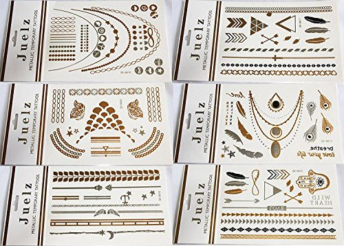 2 Packs of Assorted Gold Silver Metallic Temporary Tattoos Jewellery 210mm x 150mm Sheets from Juelz