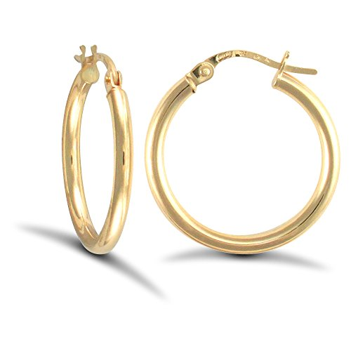 Jewelco London Ladies 9ct Yellow Gold Polished 2mm Hoop Earrings 20mm from Jewelco London