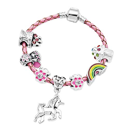 Girl's Pink Leather Unicorn Birthday Charm Bracelet with Gift Box and Unicorn Insert (17) from Jewellery Hut