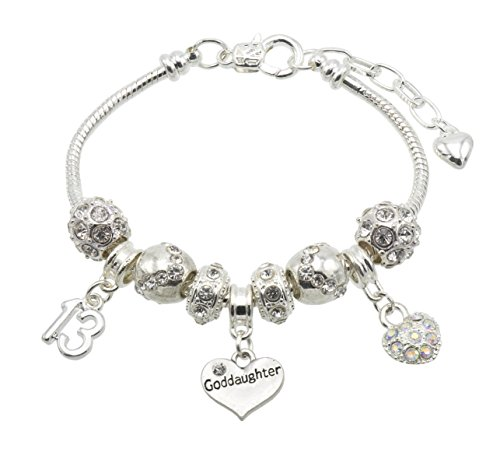 Goddaughter Birthday Charm Bracelet with Gift Box - Ages Available 13, 15, 16, 18, 20, 21, 25, 30, 35, 40, 45 & 50 (13th) from Jewellery Hut