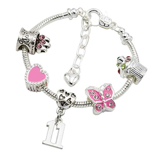 Jewellery Hut Girl's Silver Plated Birthday Charm Bracelet with Gift Box - Ages 1-11 Available (11th Birthday) from Jewellery Hut