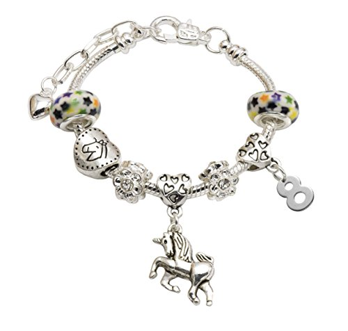 Jewellery Hut Girl's Unicorn Birthday Charm Bracelet with Gift Box - Ages 1-11 Available (8th) from Jewellery Hut