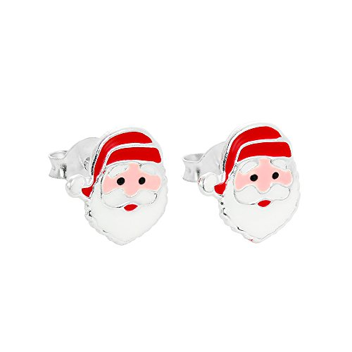Cute Sterling Silver & Enamel Santa Claus Christmas Stud Earrings from JewelleryBox