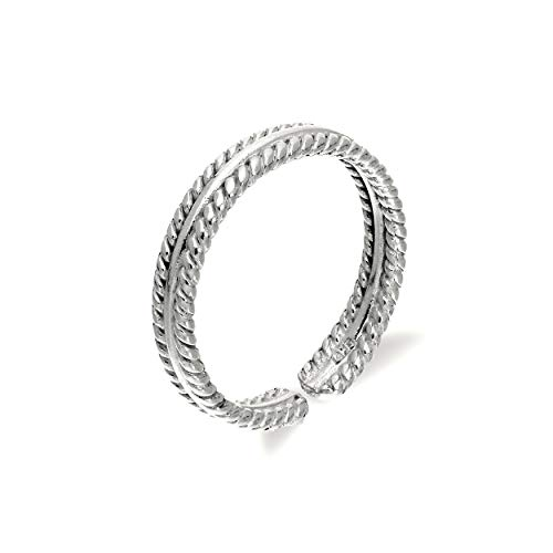 Sterling Silver Adjustable Ribbed Midi Toe Ring from JewelleryBox