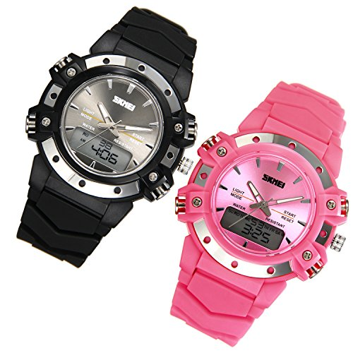 JewelryWe 2 Pack Mens Sports Two Time Digital Clocks Quartz Multifunctional Watches from JewelryWe