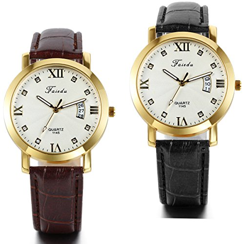 JewelryWe 2PCS Fashion Mens Brown Black Leather Strap Roman Numerals Quartz Date Wrist Watches from JewelryWe
