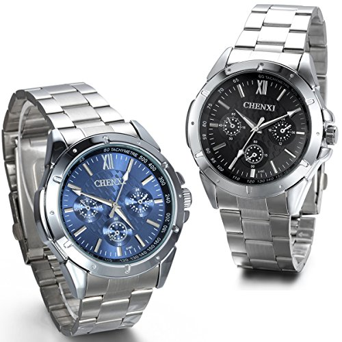 JewelryWe 2pcs Faux Chronograph Stainless Steel Band Men's Watches Christmas/Birthday from JewelryWe