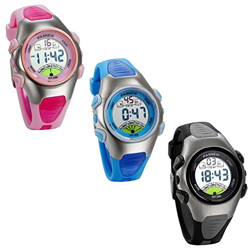 JewelryWe 3 PCS Wholesale Waterproof Sports Digital LED Watches for Children Girls Boys (Pink Blue Black) from JewelryWe