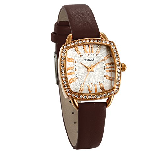 JewelryWe Bling Big Organic Shaped Style Brown Leather Strap Wrist Watch for Women from JewelryWe