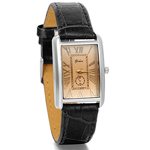 JewelryWe Fashion Black Leather Strap Roman Numeral Square Dial Women's Watch from JewelryWe