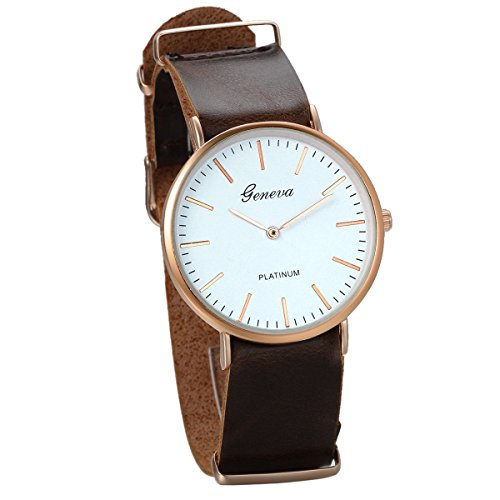 JewelryWe Fashion Men's Thin Rose Gold Tone Dial Analogueue Quartz Wrist Watch Brown Leather Strap from JewelryWe