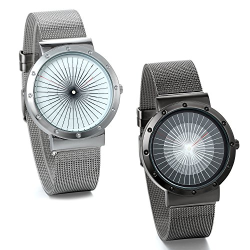 JewelryWe Lot of 2 Wholesale Mens Watches Ultra Thin Stainless Steel Mesh Wristwatch Silver Black from JewelryWe