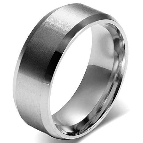 JewelryWe Men 8mm Silver Stainless Steel Brushed Wedding Ring Band Husband Father Gifts (15) from JewelryWe