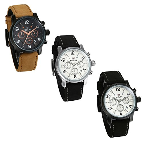 JewelryWe Mens Quartz Chronograph Watches Rhinestone Water Resistant Leather Band Analog Numeral Dial Wrist Watch from JewelryWe