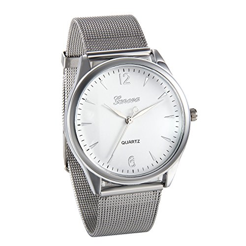 JewelryWe Mens Watch Mesh Stainless Steel Band Analog Quartz Thin Dial Wrist Watches (Silver) from JewelryWe