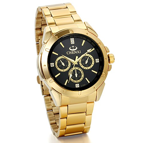JewelryWe Mens Wrist Watches IP Gold Stainless Steel Analog Black Dial with Rhinestones from JewelryWe