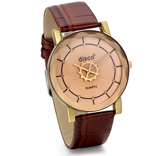 JewelryWe New Style Women Mens Quartz Wristwatch Gear Design Dial Coffee Leather Watch from JewelryWe