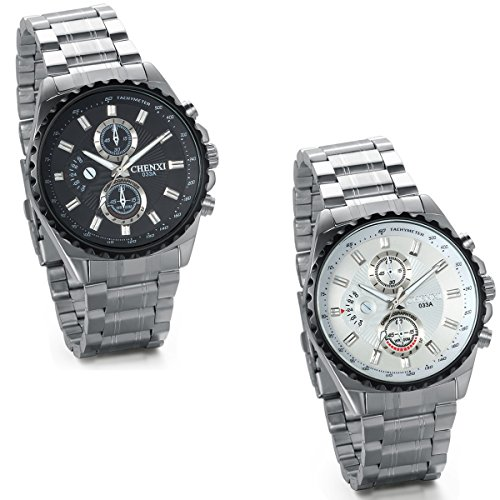 JewelryWe Pack of 2 Big Dial Quartz Stainless Steel Military Analog Watches for Men Male Gentleman from JewelryWe