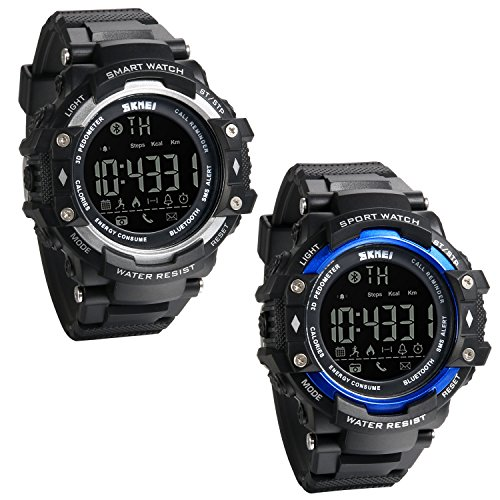 JewelryWe Pack of 2 Bluetooth Watch 3D Pedometer Waterproof Sports Watch Call&APP Low Power Reminder Alarm and Remote Camera Watches from JewelryWe