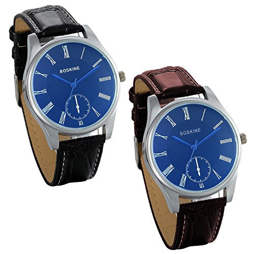 JewelryWe Pair of Couple Lovers Watches Casual Blue Face Leather Dress Wristwatch, 2pcs from JewelryWe
