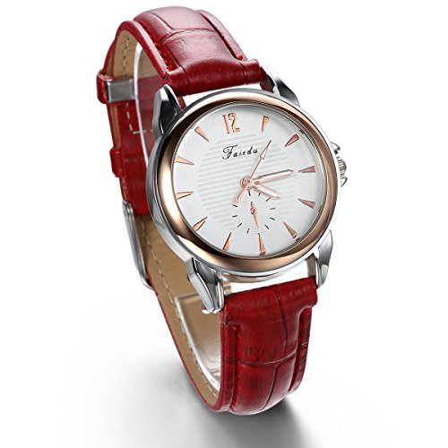 JewelryWe Red Leather Band Charm Women's Watch Leather Strap Watches from JewelryWe