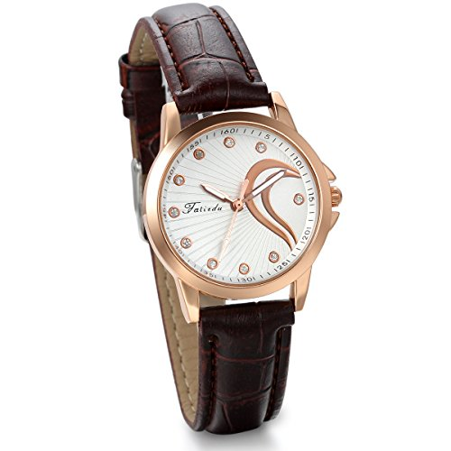 JewelryWe Romantic Gift for Women Half-Heart Dial Brown Leather Strap Watch from JewelryWe