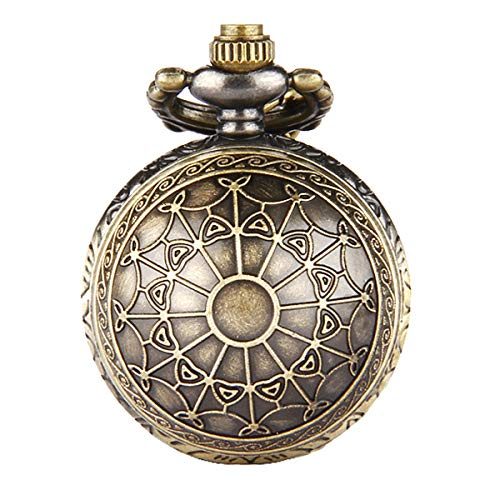 JewelryWe Women's Spider-Web Carving Pattern Antique Delicate Pocket Watch with 31.5 inch Chain from JewelryWe