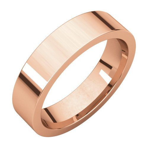 14ct Rose Gold 5mm Flat Comfort Fit Band Ring Size N 1/2 Jewelry Gifts for Women from JewelryWeb