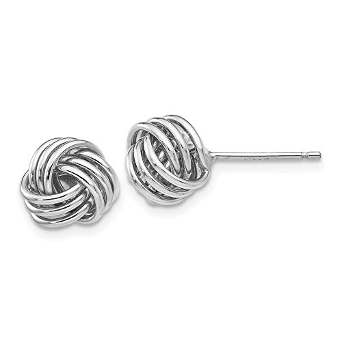 14ct White Gold Polished Ridged Love Knot Post Earrings Jewelry Gifts for Women from JewelryWeb