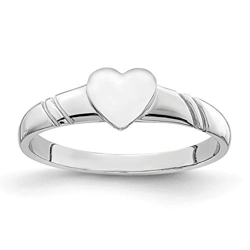 14ct White Polished Heart for boys or girls Ring - Size H from JewelryWeb