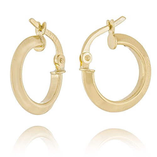 14ct Yellow Gold Baby Knife Edge Round 10mm Hoop Earrings from JewelryWeb
