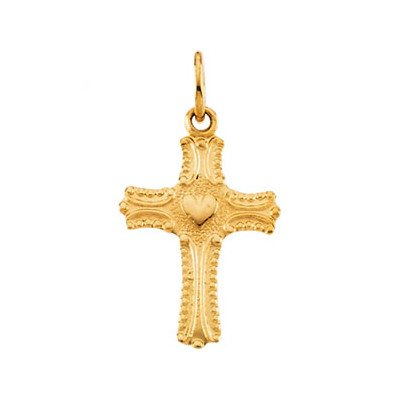 14ct Yellow Gold for boys or girls Religious Faith Cross Pendant Necklace With Love Heart 13x10mm from JewelryWeb