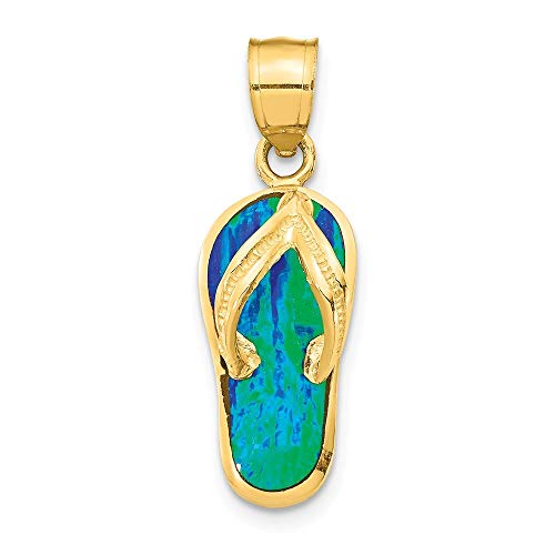 14ct Polished With Simulated Blue Opal Flip Flop Pendant from JewelryWeb